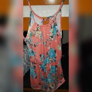 Salmon colored flowers romper